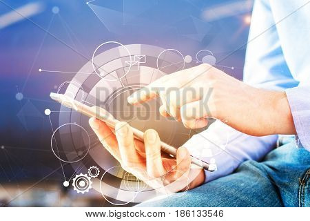 Man using smartphone with creative digital pattern. Close up. Tech concept