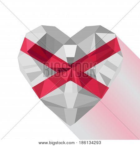 Crystal gem jewelry Saint Patrick's Saltire heart with Saint Patrick's Flag. Flat style logo symbol of love Northern Ireland. Saint Patrick's Cross. Saint Patrick's Day.17 March