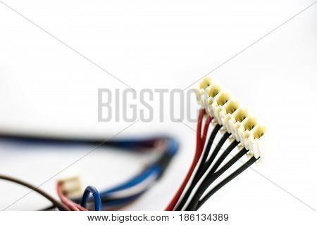 Wires And Electrical Connectors Old Parts On White Background