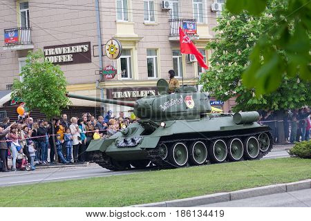 Donetsk Ukraine - May 9 2017: Tank of the Second World War at the military parade in honor of the anniversary of victory in World War II