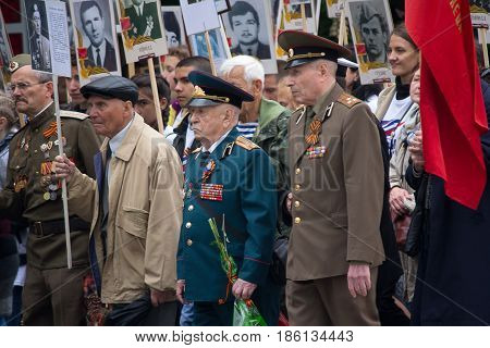 Donetsk Ukraine - May 09 2017: Participants of the march Immortal regiment in honor of the anniversary of victory in the Second World War
