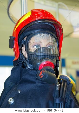 Protective equipment of the rescuer on the mannequin. Industry