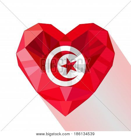 Vector crystal gem jewelry Tunisian heart with the flag of the Tunisian Republic. Flat style logo symbol of love Tunisia. independence Day. North Africa