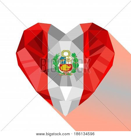 Vector crystal gem jewelry Peruvian heart with the flag of the Republic of Peru. Flat style logo symbol of love Peru. South America