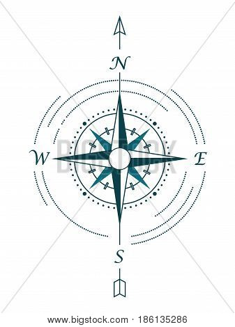 Vector touristic compass rose. Vector illustration of wind rose in hipster style