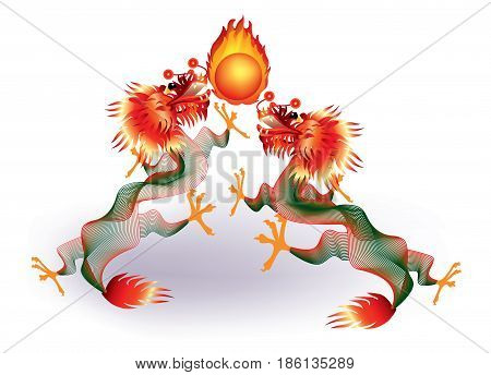 Dragons playing with fireball on white background
