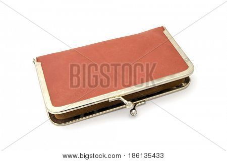 Old purse isolated on white background