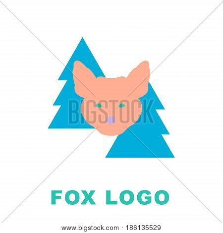 Stylized illustration of the fox in woods. It can be used as a logo mascot for sport team or your company. Laconic Symbol for Icons, Logos, Badges and Emblems. Vector illustration. Animal Logo.
