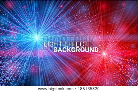 Explosion concept. Collision of two forces with red and blue light. Effect Realistic Design Elements. Vector Illustration Modern Background.