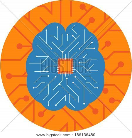 Brain Chip embedded inside a Brain. Circuit Board Brain Chip technology Vector Icon.