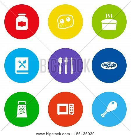 Set Of 9 Kitchen Icons Set.Collection Of Electronic Oven, Jar, Loaf And Other Elements.