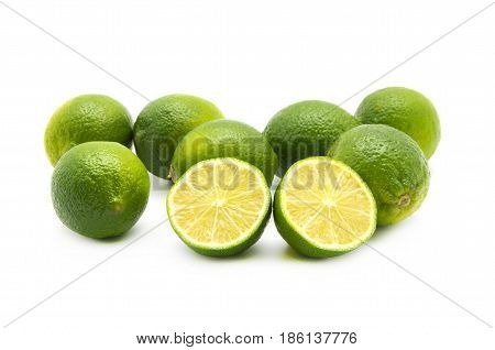 Lemon fruit  with half cross section and partial section isolated on white