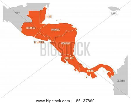 Map of Central America region with red highlighted central american states. Country name labels. Simple flat vector illustration.
