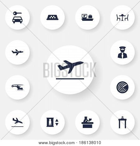 Set Of 13 Airplane Icons Set.Collection Of Luggage Check, Aircraft, Cab And Other Elements.