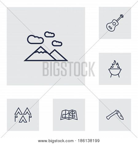 Set Of 6 Picnic Outline Icons Set.Collection Of Encampment, Grill, Gps And Other Elements.