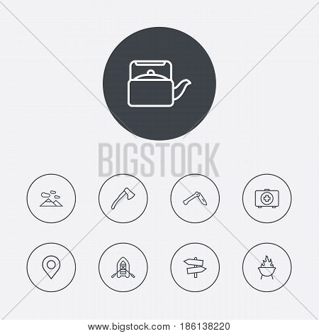 Set Of 9 Camping Outline Icons Set.Collection Of Medical Kit, Penknife, Ax And Other Elements.