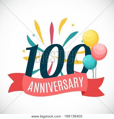 Anniversary 100 Years Template with Ribbon Vector Illustration EPS10