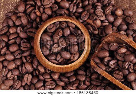 Coffee, beverage, brown, caffeine, colors, grain, invigorating, legumes, life, morning, natural, nature, spatula, spoon, still, toning, wooden