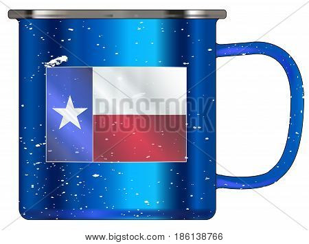 A typical blue coloured tin cup with white mottle FX over a white background and the Texan flag
