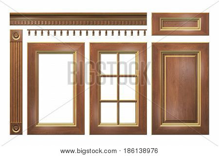 Wooden with gold door, drawer, column, cornice for kitchen cabinet isolated on white. 3D rendering