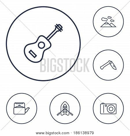 Set Of 6 Adventure Outline Icons Set.Collection Of Rubber Boat, Photographing, Mountains And Other Elements.