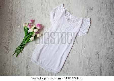 White Lengthened Blouse With Lace, Pink Tulips. Fashionable Concept, Top View