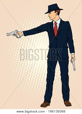 Man in a hat with two pistols. Retro style pop art. Vector illustration