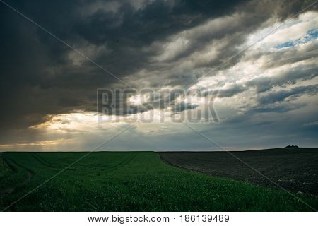Thunderstorm over the land, beautiful landscape
