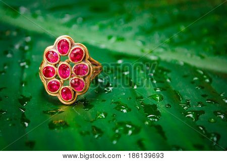Red sapphire ring gold gem thai style.