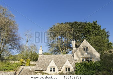 Facade of Historic Houses of Bilbury Cotage in Cotswolds United Kingdom