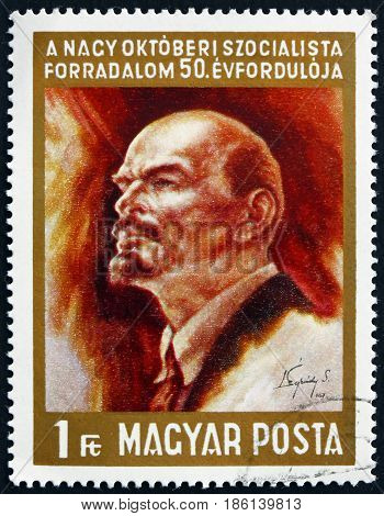 HUNGARY - CIRCA 1967: a stamp printed in Hungary shows Vladimir Illyich Lenin Communist and Politician circa 1967
