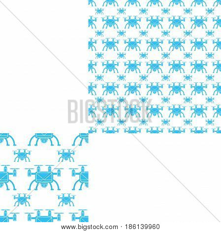 Seamless pattern of blue unmanned aircraft on the white background with pattern unit.