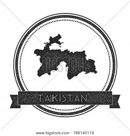 Retro Distressed Tajikistan Badge With Map. Hipster Round Rubber Stamp With Country Name Banner, Vec