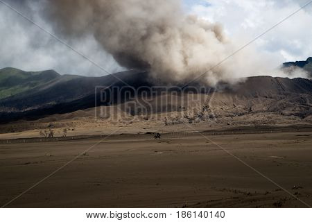 Silhouette Of Horseback Rider Riding Across Volcanic Brown Sand Landscape With Smoke At The Backgrou