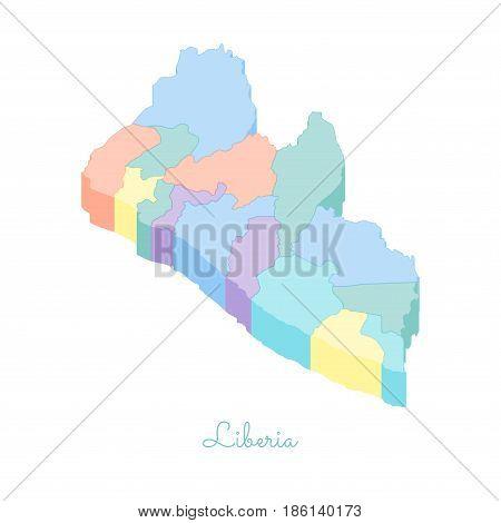 Liberia Region Map: Colorful Isometric Top View. Detailed Map Of Liberia Regions. Vector Illustratio