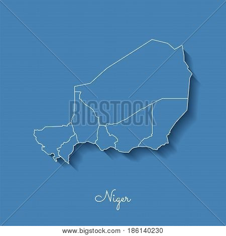 Niger Region Map: Blue With White Outline And Shadow On Blue Background. Detailed Map Of Niger Regio