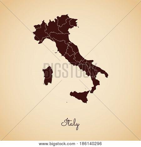 Italy Region Map: Retro Style Brown Outline On Old Paper Background. Detailed Map Of Italy Regions.