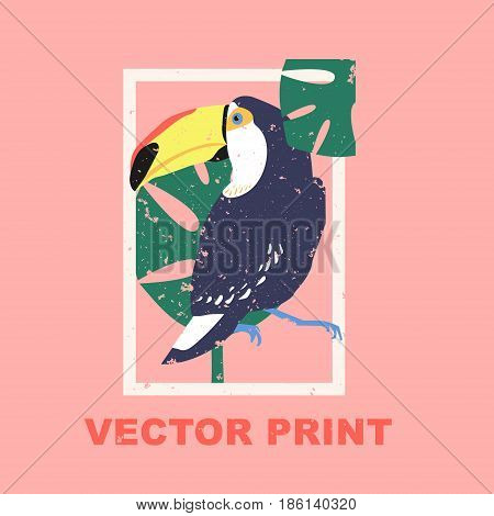 Summertime print with the toucan. Perfect for a t-shirt print, postcard, label design or for your travel agency. Unique tropical printable concept. Vector illustration.