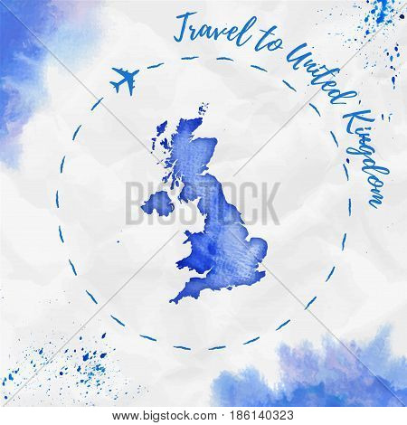 United Kingdom Watercolor Map In Blue Colors. Travel To United Kingdom Poster With Airplane Trace An