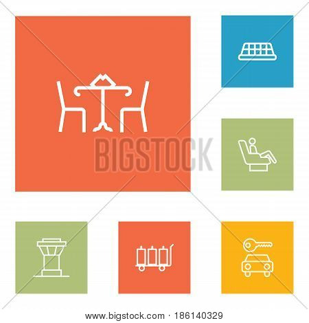 Set Of 6 Land Outline Icons Set.Collection Of Luggage Trolley, Business Class, Control Tower And Other Elements.