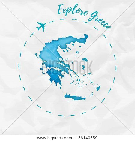 Greece Watercolor Map In Turquoise Colors. Explore Greece Poster With Airplane Trace And Handpainted