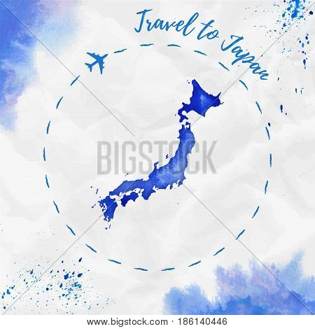 Japan Watercolor Map In Blue Colors. Travel To Japan Poster With Airplane Trace And Handpainted Wate