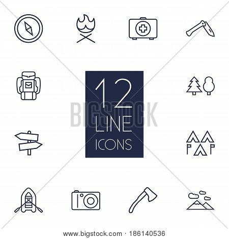 Set Of 12 Adventure Outline Icons Set.Collection Of Medical Kit, Guidepost, Photographing And Other Elements.