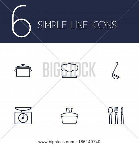 Set Of 6 Culinary Outline Icons Set.Collection Of Ladle, Bread, Hat And Other Elements.