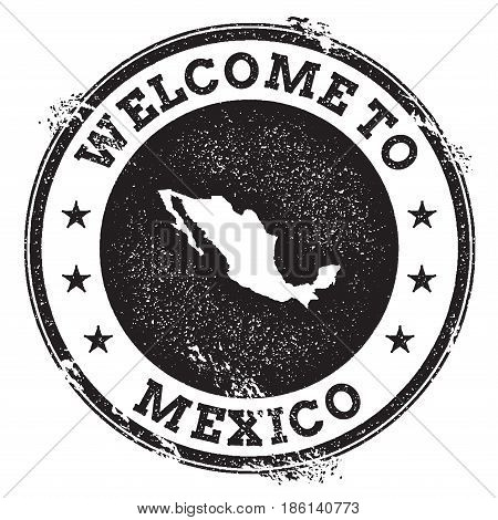 Vintage Passport Welcome Stamp With Mexico Map. Grunge Rubber Stamp With Welcome To Mexico Text, Vec