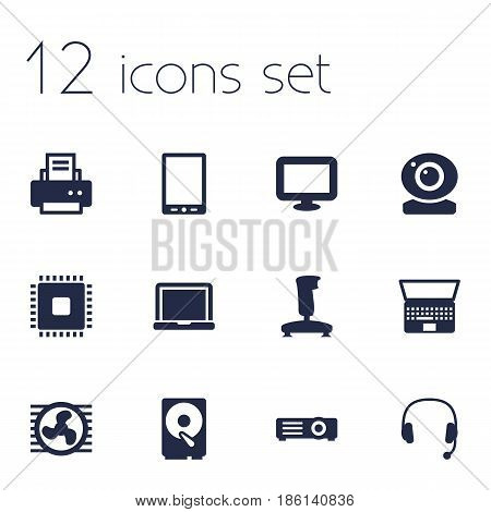 Set Of 12 Laptop Icons Set.Collection Of Headset, Peripheral, Show And Other Elements.