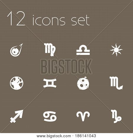 Set Of 12 Astronomy Icons Set.Collection Of Solar, Zodiac Sign, Crab And Other Elements.