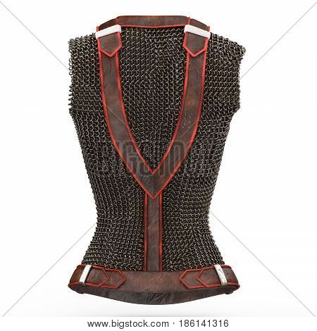 Female chain armor made of metal on isolated white background.
