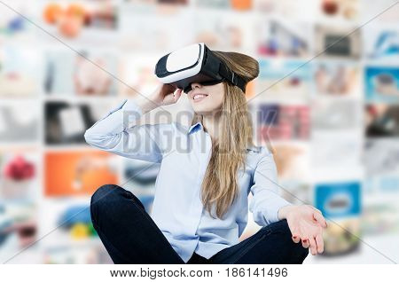 Woman Wears Virtual Reality Glasses With Smartphone Inside.