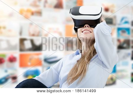 Woman Using Vr Virtual Reality Glasses